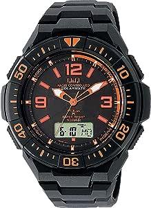 [シチズン Q&Q] 腕時計 アナログ 電波 ソーラー 防水 日付 ウレタンベルト MD06-315 メンズ ブラック × オレンジ