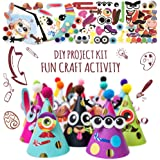 Glittery Garden Party Hats Making Activity Kit Diy Craft Set W 12 Colorful Hats Pompoms And Stickers Fun Celebration Kit For