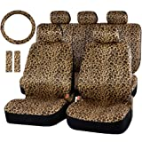 Audel Zebra Car Seat Cover Set with 2 Seat Belt Pads & Universal 15 Inch Steering Wheel Cover Fit for Car, Truck, SUV, or Van