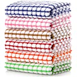 LAZI Kitchen Dish Towels, 16 Inch x 25 Inch Bulk Cotton Kitchen Towels Set, 6 Pack Dish Cloths for Washing Dishes Dish Rags f