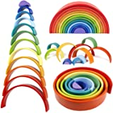 Lewo 12 PCS Wooden Rainbow Stacker Extra Large Stacking Game Nesting Puzzle Building Blocks Educational Toys for Kids Baby To