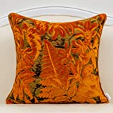 Alerfa 20 x 20 Inch Orange Square Maple Leaf Pillow Embroidery Cut Velvet Cushion Case Luxury Modern Lumbar Throw Pillow Cove
