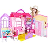 Super Joy Portable Dollhouse Dreamhouse Fold Playset Toys with Furniture Accessories Household Items with Carrying Handle 8 S