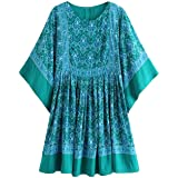 R.Vivimos Women Summer Cotton Half Sleeve Casual Loose Bohemian Floral Tunic Dresses