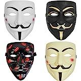 4 Pack V for Vendetta Guy Mask Halloween Mask Halloween Costume Cosplay Party Mask for Halloween Cosplay Party Hacker mask