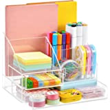 Marbrasse Upgraded Acrylic Desk Organizer + 2 Drawers, Acrylic Pen Organizer for Desk, All-in-One Art Supply Organizer Storag