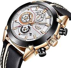 メンズ腕時計 LIGE 多機能 防水ウォッチ クロノグラフ 日付表示 ビジネス カジュアル アナログ クオーツ 時計 メンズ