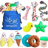 SenYoung Dog Toys,12 Pack Dog Squeaky Rope Chew Toy Sets, Interactive Cute and Safe Stuffed Plush Squeaker Toys, Tough Puppy