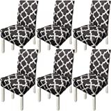 NORTHERN BROTHERS Chair Covers for Dining Room Printed Dining Chair Covers (Set of 6,Dark Gray)