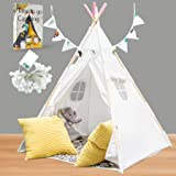 Teepee Tent for Kids with Lights, Flags, Floor and Carry Case – Large Foldable Play Tipee Tent for Girls, Toddler, Baby - Cot