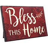 Bless This Home Rustic Decor Red Wood Sign | Farm House Decorations Wall or Easel | Religious Gifts for Women | 9.5 Inches