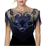 L'vow Women's Vintage 1920s Flapper Shawl Sequins Gatsby Evening Bolero Cape With Fringe