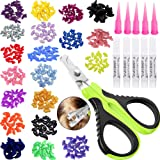 VICTHY 100pcs Cat Nail Caps with Clipper Set, Pet Cat Nail Clipper Cat Soft Claws Nail Covers for Cat Claws with Adhesive and
