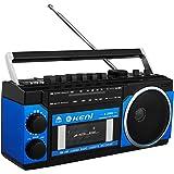 G Keni ラジオカセットレコーダー AM/FMラジオ USB/SDカードMP3再生対応 カセットテープ 再生/録音可能 ポータブルラジカセ 乾電池仕様 AC100V