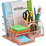 Rose Gold Desk Organizer for Women, Mesh Office Supplies Desk Organizer, All in One Desktop Organizer with Sliding Drawer, Fi