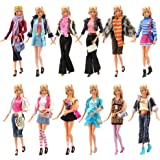 Barwa 3 Sets Fashion Casual Wear Clothes Outfits With 3 Pair Shoes For Barbie Doll Random Style