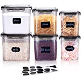LARDERGO Cereal Container, 6 Pieces Plastic Flour Storage Containers, BPA Free Food Storage Containers with Lids Airtight for