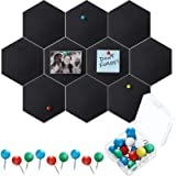 10 Packs Pin Board Hexagon Felt Board Tiles Bulletin Board Memo Board with 20 Pieces Push Pins, Decoration for Home Office Cl