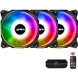 upHere 120mm RGB PCケースファン 内側と外側LEDリング搭載 リモコン付 3本1セット【DP1206-3】