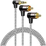 3.5mm to RCA,CableCreation L型 3.5mm オスto 2RCA オス AuxステレオオーディオY分岐変換ケーブル2分配ケーブル 金メッキ処理 スマホン、 MP3、タブレット、スピーカー、ホームシアター、HDTV対応 ブラッ