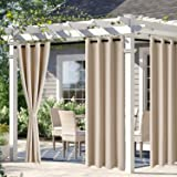 DWCN Waterproof Outdoor Curtains for Patio -Indoor Outdoor Thermal Insulated, Sun Blocking Grommet Blackout Curtains for Bedr
