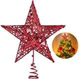 Christmas Tree Star Topper, 10 Inch Xmas Tree Topper Star Christmas Decoration Glittered Tree-top Star for Christmas Tree Orn