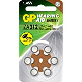 ZA312B6 GP Hearing Aid Battery, 6 Pack Size 312, Pr41, Ac312 - Gp Typical Battery Lifetimes Run Between 1 and 14 Days 312 Typ