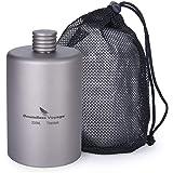 Boundless Voyage 携帯用超軽量スキットル ヒップフラスコ高品質チタン製ボトル ポータブルフラスコ 200ml 収納袋付き