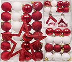 Hannah's Cottage 60pcs Traditional Christmas Balls Xmas Decoration Set,1.2inch-7.9inch/3cm-20cm, Shatterproof Tree Ornaments with Hanging Hooks(Red White)
