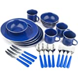 Stansport 24-Piece Enamel Camping Tableware Set