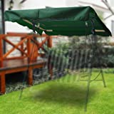 """Flexzion Swing Canopy Cover (Green) 75"""" x 52"""" - Deluxe Polyester Top Replacement UV Block Sun Shade Waterproof Decor for Outd"""