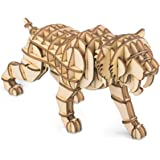Rolife Build Your Own 3D Wooden Assembly Puzzle Wood Craft Kit,Gifts for Kids and Adults Tiger Tiger