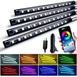 Nanpoku LED RGB テープライト APPコントロール 車内装飾用 LEDテープ USB式&シガー式 2種給電 音に反応 全8色切替 4パターン点灯 DIY可能 タイマー機能 フットランプ 足下照明 12V 車用 防水 IOS&Androi