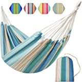 Brazilian Hammock-Canvas Travel Hammock Portable Beath with Carry Bag for Backyard, Porch, Outdoor and Indoor Use (Blue & Gre