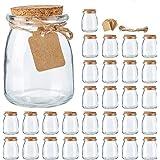 Mini Yogurt Jars 30 Pack, 7 oz Glass Favor Jars with Cork Lids, Glass Pudding jars, Glass Containers with Lids, Mason Jar Wed