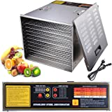 Yescom Food Dehydrator 1200W 10 Tray Commercial Fruit Dryer Jerky Maker 52 X 42 X 38CM Stainless for Meat Beef Fruit