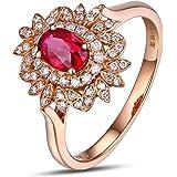 AMdxd 18K Gold Women Rings Flower Diamond Ring Wedding Ring with White Red Diamond Ruby