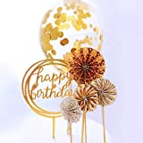 RESTARDS Happy Birthday Cake Topper Acrylic Cupcake Topper, A Series of Gold Paper Fans Confetti Balloon Birthday Cake Suppli