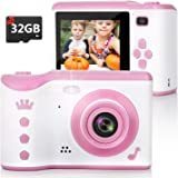 Kids Camera, 8.0MP Digital Dual Camera Rechargeable Shockproof Camcorder Camera With 2.8 Inch Touch Screen,32GB SD Card Inclu