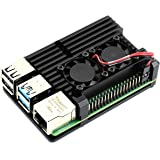 Waveshare Aluminium Alloy Case Type C for Raspberry Pi 4 Model B with Dual Cooling Fans