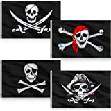4 Pieces Halloween Pirate Flags 3 x 5 Feet Jolly Roger Pirate Flag Skull Bone Pirate Banner Halloween Retro Decorations Flag