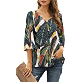 Ecrocoo Women's Casual Long Sleeve Button Detail Loose Fit Chiffion Solid Blouse Tops