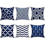 Topfinel 100% Durable Canvas Square Decorative Throw Pillows Cushion Covers Pillowcases for Sofa 1 Set of 6, 18 x 18 Inch, Na