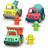 Battat Wonder Wheels Set of 3 Mini Toy Trucks and Characters for Kids, Toddlers – Dump Truck, Cement Truck, Tow Truck – Recyc