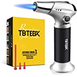 Butane Torch, Professional Kitchen Torch with Safety Lock & Adjustable Flame for Cooking, BBQ, Baking, Brulee, Creme, DIY Sol