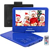 FENGJIDA 9.5'' Portable DVD Player, Car DVD Player with Headrest Mount, Swivel Screen, Built-in Rechargeable Battery, Remote