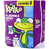 Flushable Wipes for Baby and Kids by Kandoo, Unscented for Sensitive Skin, Hypoallergenic Potty Training Wet Cleansing Cloths