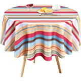 Stripe Tablecloth, Summer Striped Colorful Table Cloth, Spring Waterproof Wrinkle Free Tablecloth for Outdoor, Picnic, Campin