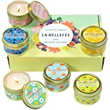 LA BELLEFÉE Scented Candle 100% Soy Wax Gift Set Travel Tin Candles ... Berry, Peach, Cherry, Grapefruit, Tarocco Blood Orang