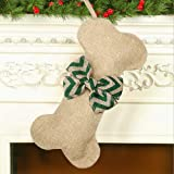 Malier New Linen Large Christmas Stocking for Dogs Cats Pets Jute Natural Burlap Dog Bone Shape Hanging Dog Christmas Stockin